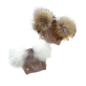 Dusty Beige Angora Double Pom Beanie Hat