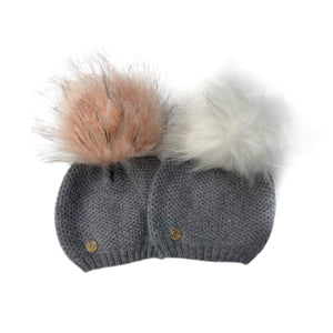 Cashmere Honeycomb Beanie with Faux Fur Pom