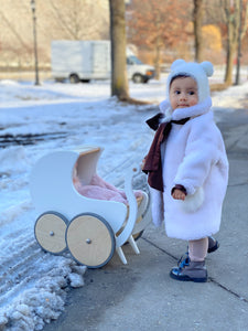 Shearling Teddy Bow Coat - Petit Maison Kids