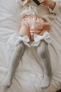 Grey Knee High Socks with Velvet Bows - Petit Maison Kids
