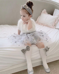 White Knee High Socks with Velvet Bows