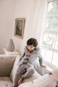 Cashmere Pram Coat with Grey Trim