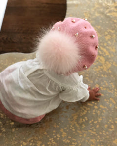 Baby Wool Berets with Pearls - Petit Maison Kids