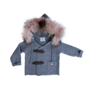 Cashmere Pram Coat with Faux Fur Pink Trim