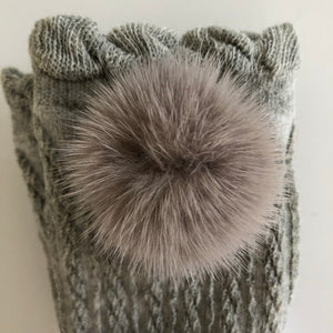 Grey Knee High Socks with Poms - Petit Maison Kids