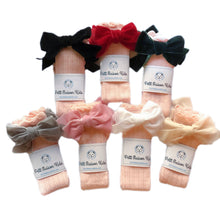 Peach Knee High Socks with Velvet Bows - Petit Maison Kids