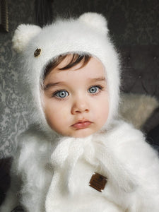 White Cashmere Teddy Hat