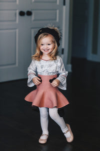 Flare Skirt with Velvet Bows - Petit Maison Kids