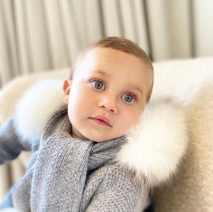 Cashmere Pram Coat with Faux Fur White Trim