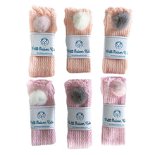 Pink and Peach Knee High Socks with Poms