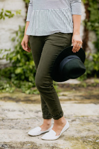 Olive Low-Rise Pants