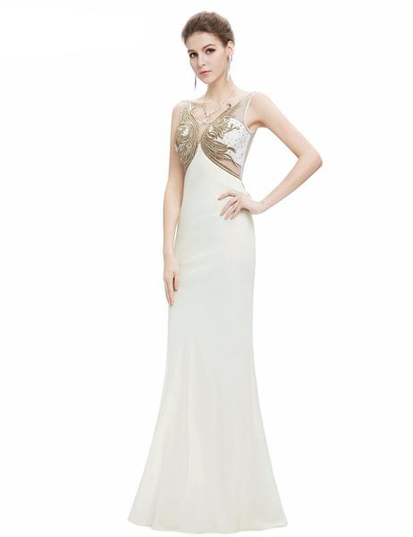 White Embroidered Evening Gown Dress