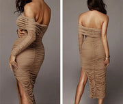 Ruched Double Layered Mesh Dress - MaestosoRosso_Fashion_Store