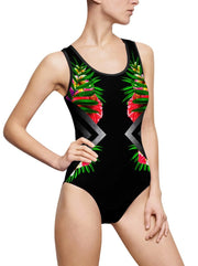 Steel Flowers One-Piece Swimsuit - MaestosoRosso_Fashion_Store