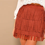 Rusty Red Fringe Mini Skirt - MaestosoRosso_Fashion_Store