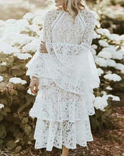 Ruffle Lace Long-Sleeved Dress - MaestosoRosso_Fashion_Store
