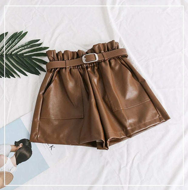 PU Leather Ruched Shorts - MaestosoRosso_Fashion_Store