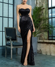 Black Bra Open Back Sequin Dress - MaestosoRosso_Fashion_Store