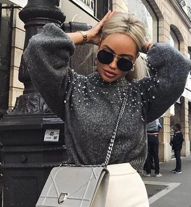 Oversized Pearl Sweater - MaestosoRosso_Fashion_Store