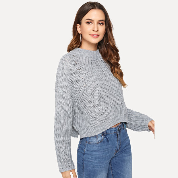 Chunky Knit Crop Sweater - MaestosoRosso_Fashion_Store