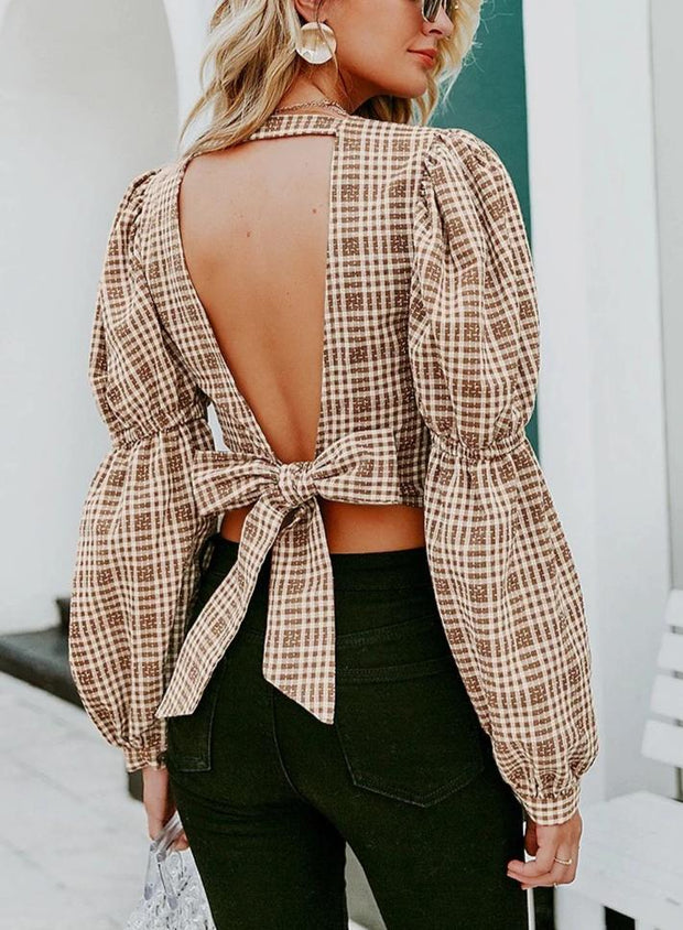 Vintage Plaid Oversize Blouse - MaestosoRosso_Fashion_Store