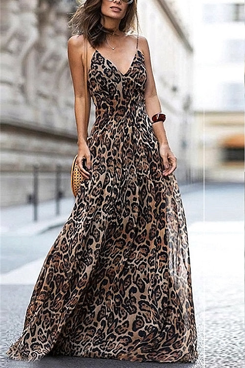 Leopard Chiffon Maxi Dress - MaestosoRosso_Fashion_Store