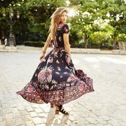 Boho Maxi Asymmetrical Dress - MaestosoRosso_Fashion_Store