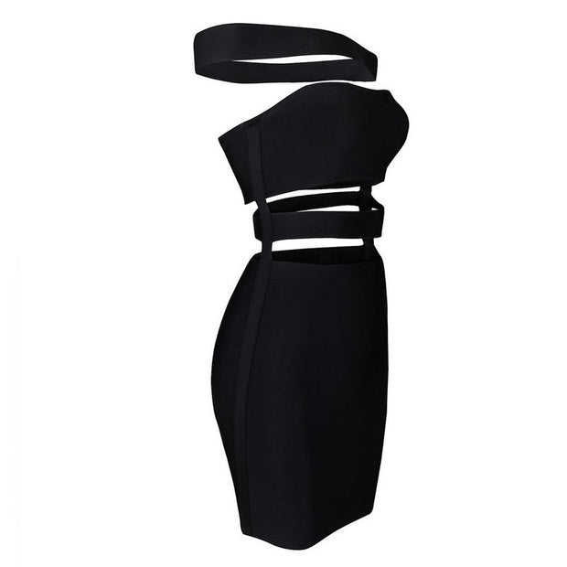 Slash Neck Bandage Dress - MaestosoRosso_Fashion_Store