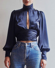 Backless Puff Sleeve Blouse - MaestosoRosso_Fashion_Store
