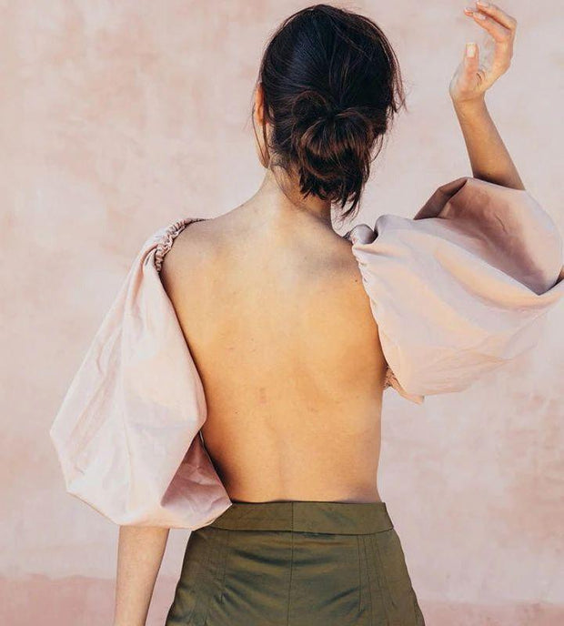 Backless Short Blouse - MaestosoRosso_Fashion_Store