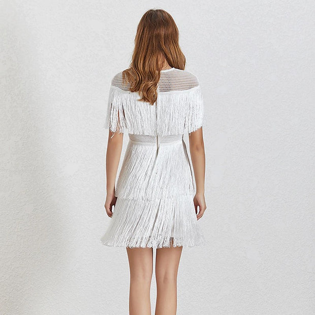 Layered Tassel Mini Dress - MaestosoRosso_Fashion_Store