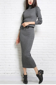 Long Wool Sweater Dress - MaestosoRosso_Fashion_Store