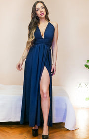 Deep V-Neck Spaghetti Strap Maxi Dress - MaestosoRosso_Fashion_Store