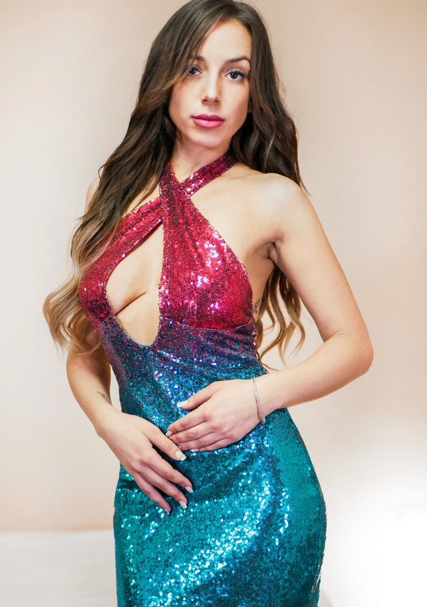 Gradient Party Sequin Dress - MaestosoRosso_Fashion_Store