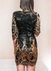 Black & Gold Sequin Dress - MaestosoRosso_Fashion_Store