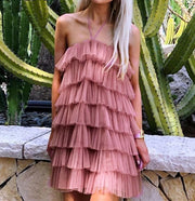 Multi Layer Rose Dust Dress - MaestosoRosso_Fashion_Store