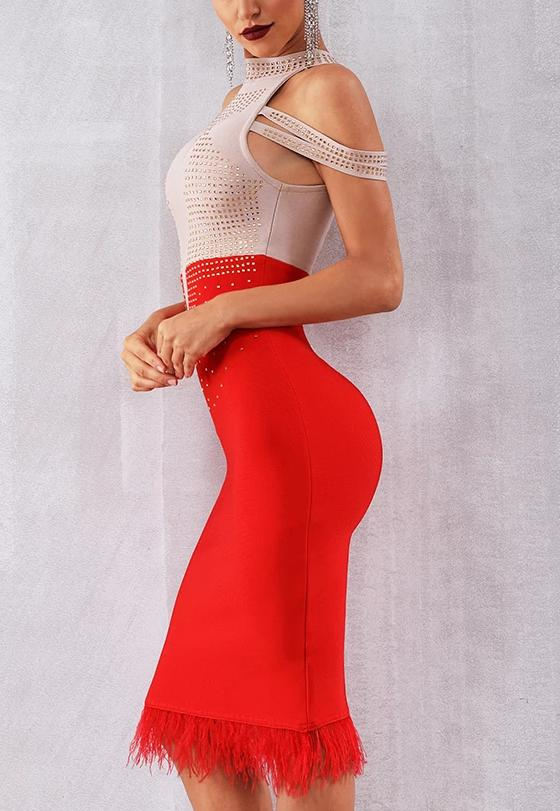 Color Block Crystal Bandage Dress - MaestosoRosso_Fashion_Store