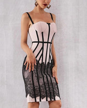 Apricot Lace Bottom Bandage Dress - MaestosoRosso_Fashion_Store