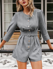 Gray Mini Romper - MaestosoRosso_Fashion_Store