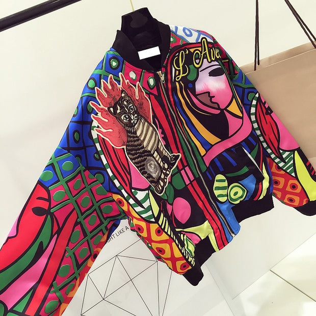 Pop-Art Embroidery Bomber Jacket - MaestosoRosso_Fashion_Store