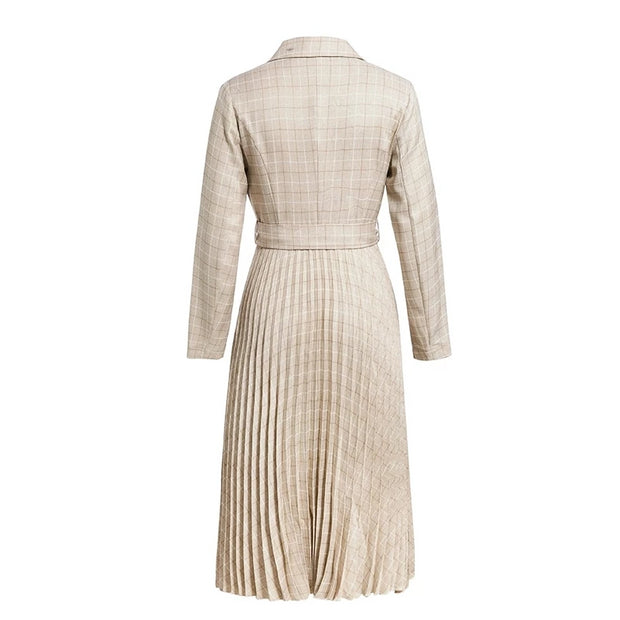 Pleated Vintage Midi Dress - MaestosoRosso_Fashion_Store