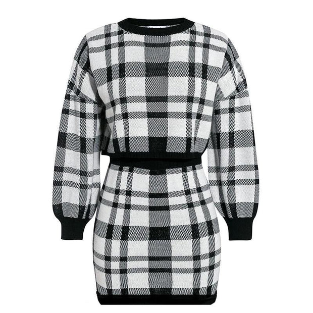 Black & White Plaid Set - MaestosoRosso_Fashion_Store