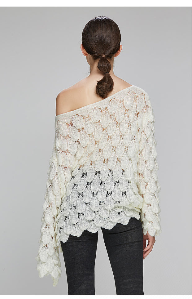 3D Feather White Blouse - MaestosoRosso_Fashion_Store