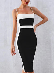 Color Block Midi Bandage Dress - MaestosoRosso_Fashion_Store
