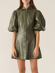 Puff Sleeve PU Leather Dress - MaestosoRosso_Fashion_Store