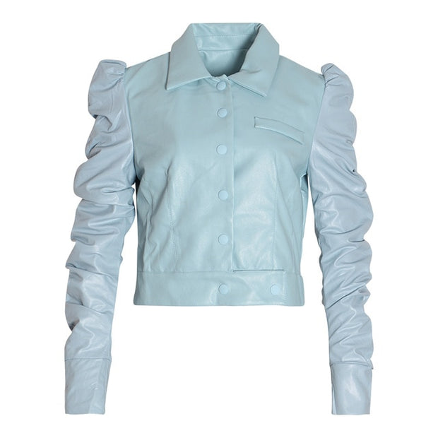 Puff Sleeve PU Leather Jacket - MaestosoRosso_Fashion_Store