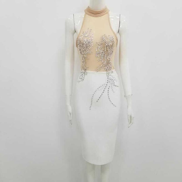 Crystal Embroidered Party Dress - MaestosoRosso_Fashion_Store