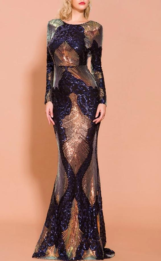 Sequin Peacock Evening Gown - MaestosoRosso_Fashion_Store