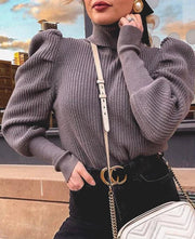 Turtleneck Puff Sleeve Pullover - MaestosoRosso_Fashion_Store