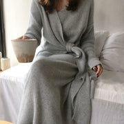 Cashmere Feel Wrap Dress - MaestosoRosso_Fashion_Store